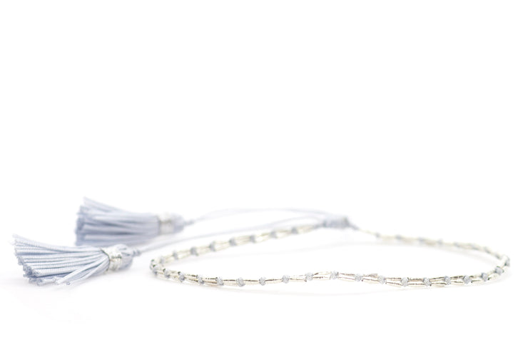 Silk & Silver Light Pink Tassel Bracelet