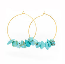 Load image into Gallery viewer, Rock Candy ~ Turquoise Hoops