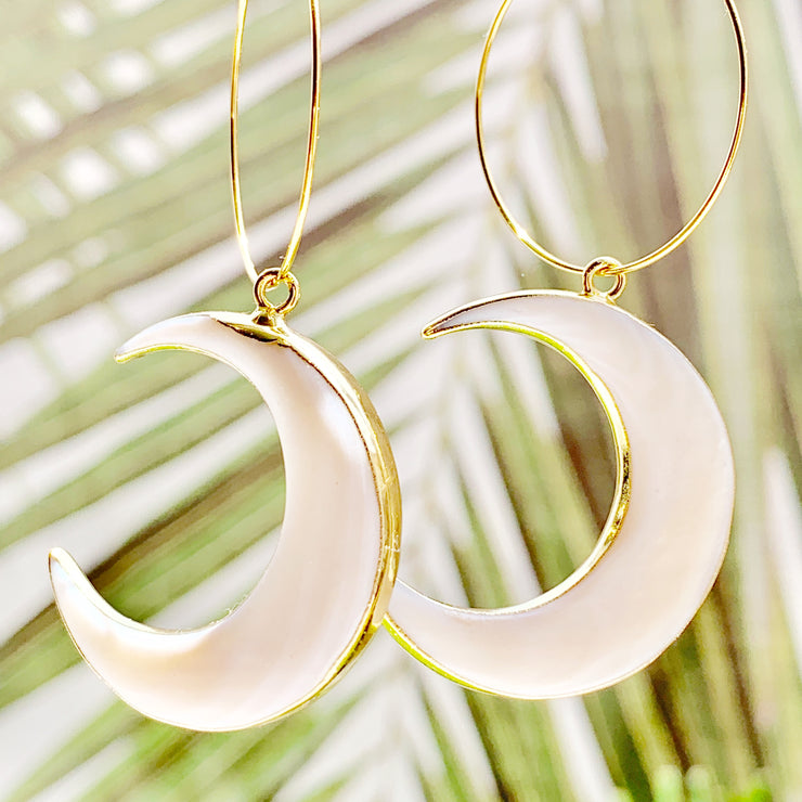 Large Abalone Moon Hoops
