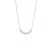 Baby blue glimmer beaded necklace gold