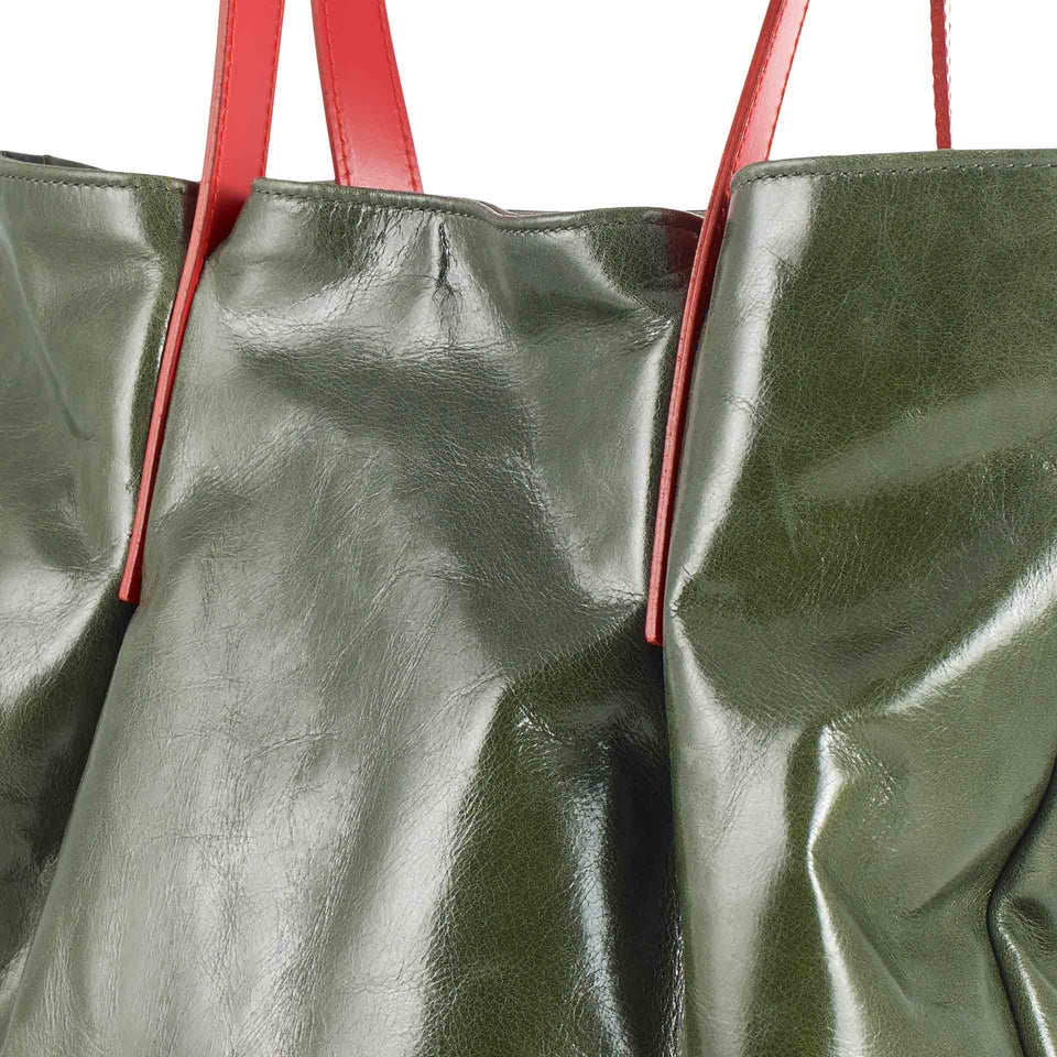 Olive Leather Tulip Tote with Orange Straps