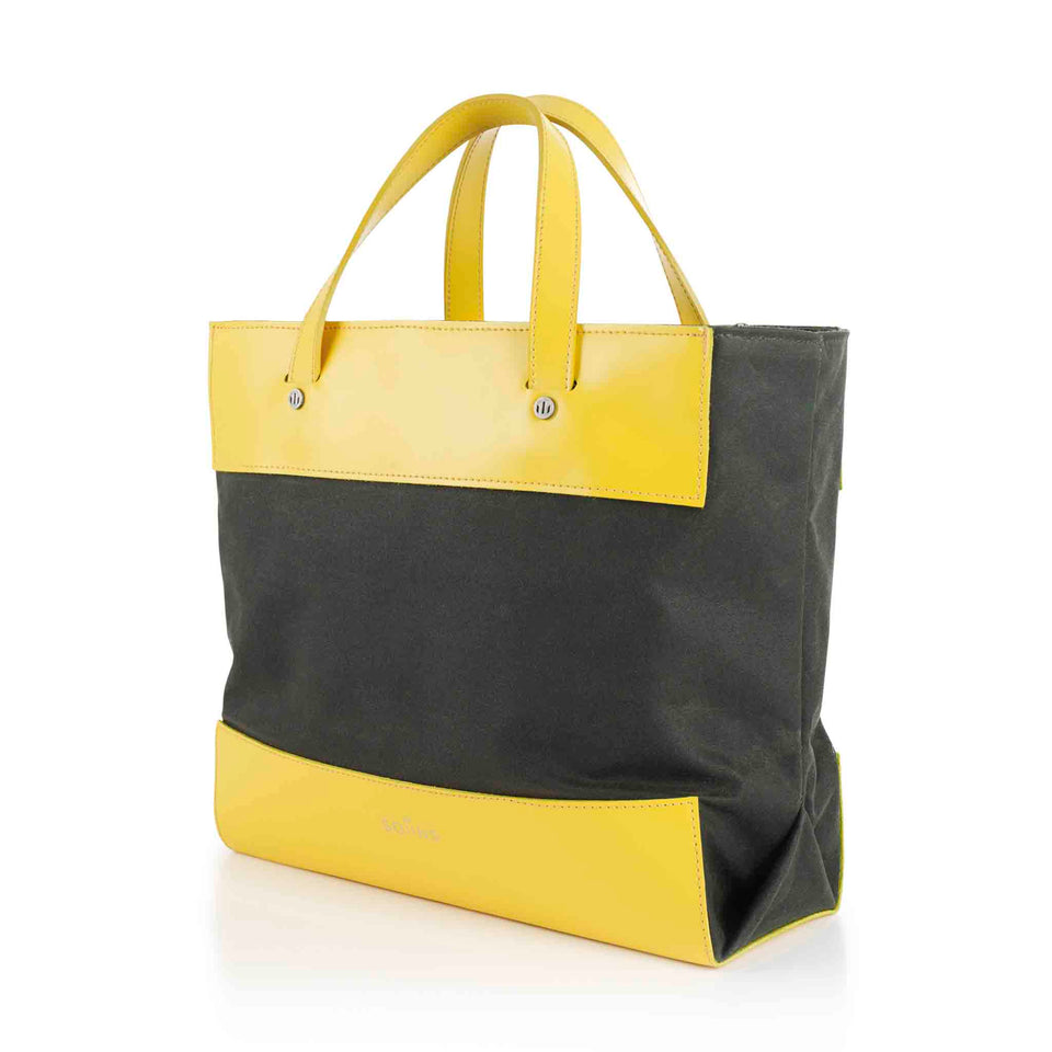 Leather and Waxed Cotton Cube Mini Tote