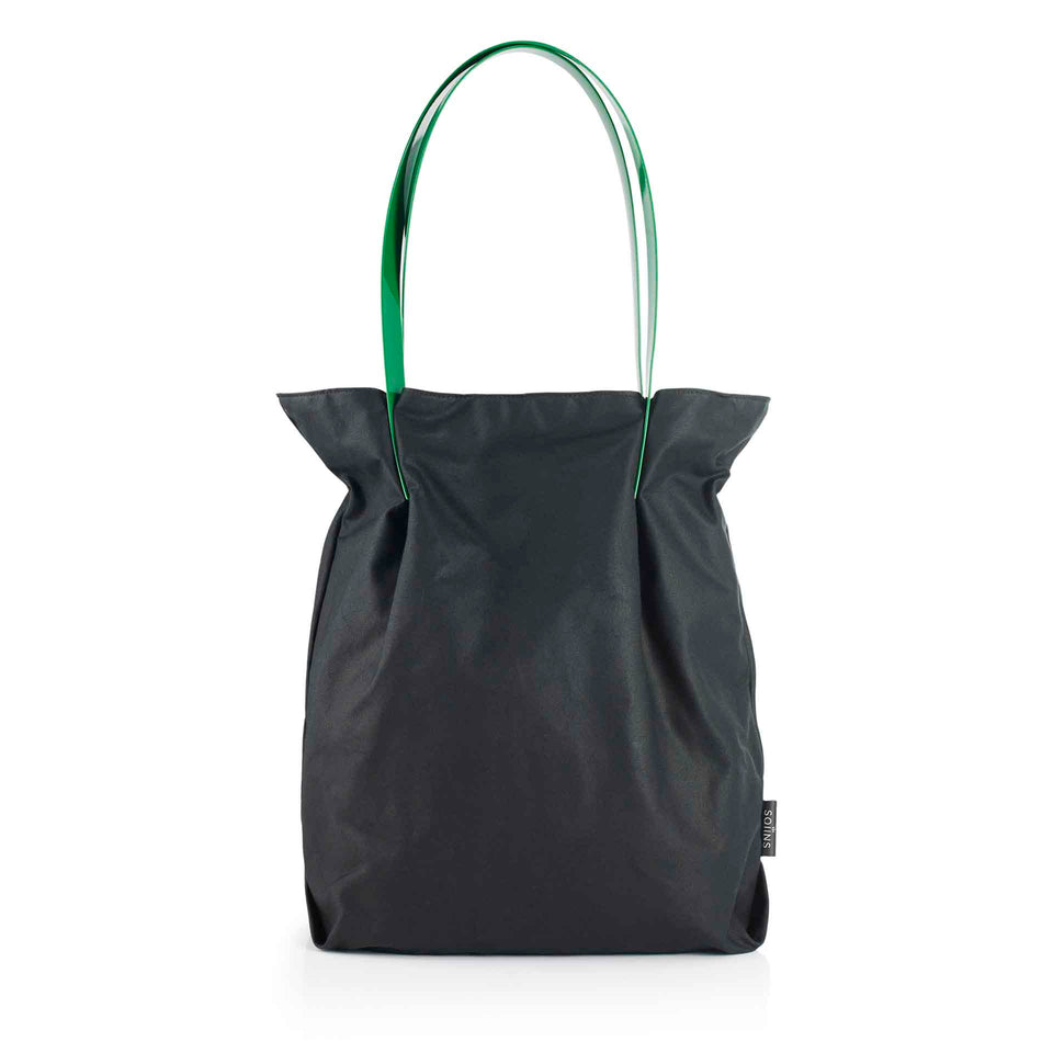 Oversized Waxed Cotton Tulip Tote with Green Glossy Straps