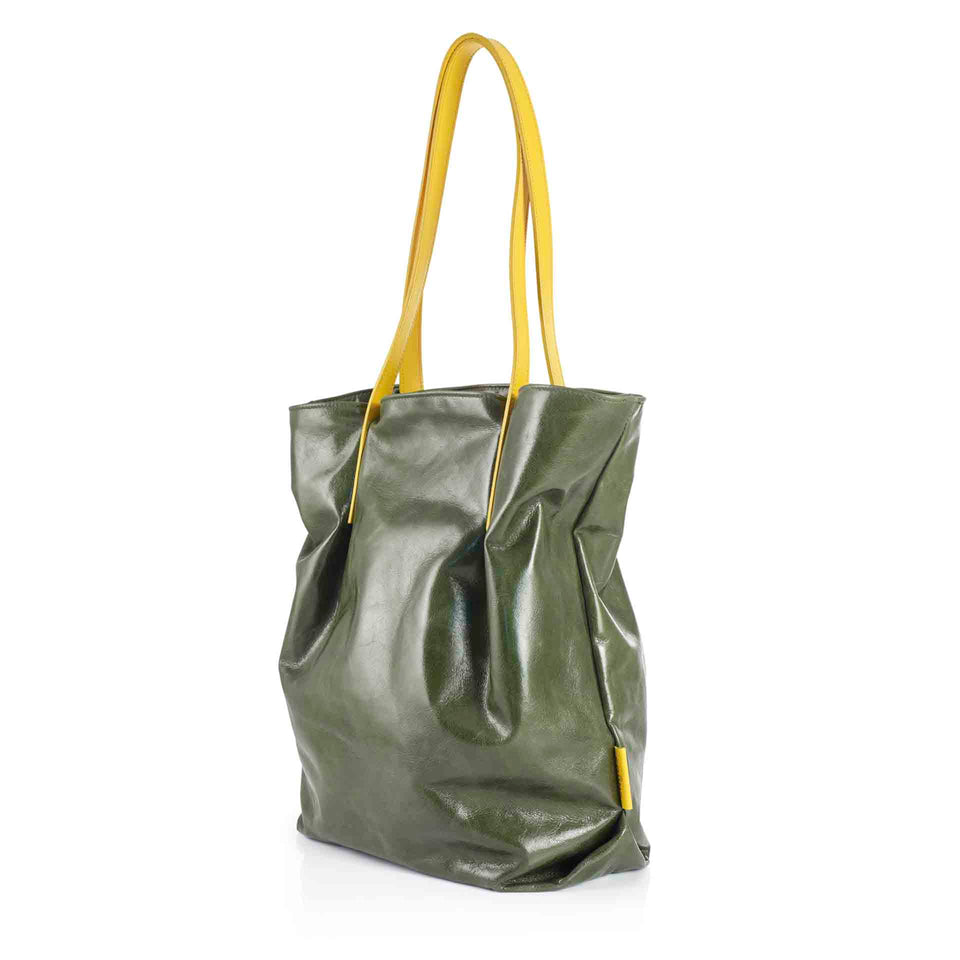 Olive Leather Tulip Tote with Yellow Straps