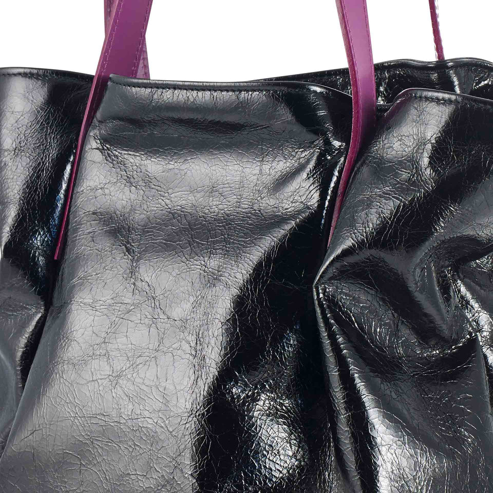 Black Leather Tulip Tote with Purple Straps