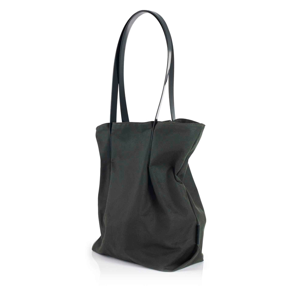 Sage and Black Waxed Cotton Tulip Tote
