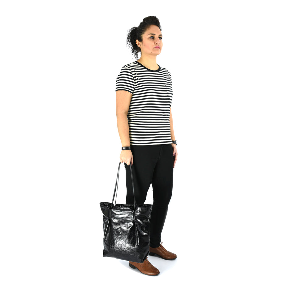 Black Leather Tulip Tote with Green Straps