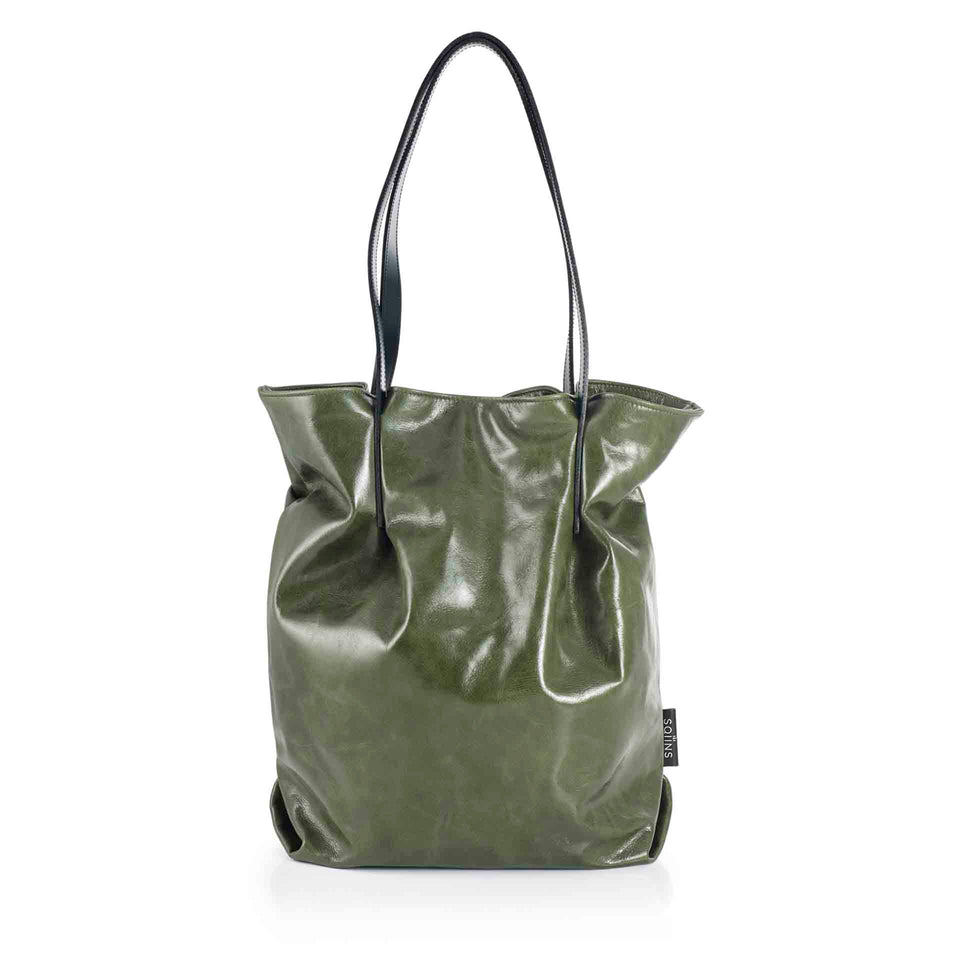 Olive Leather Tulip Tote with Black Straps