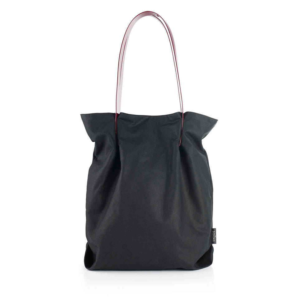 Oversized Waxed Cotton Tulip Tote with Maroon Glossy Straps