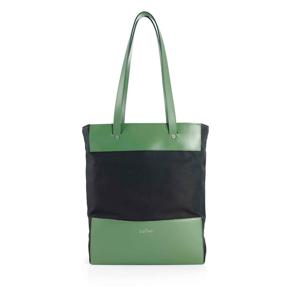 Leather and Waxed Cotton Cube Tote