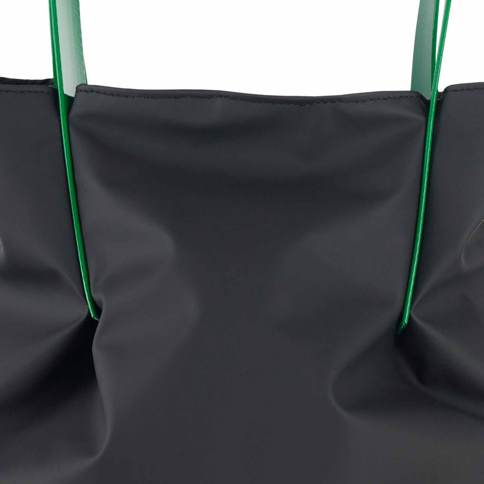 Black Rubber Tulip Tote with Green Glossy Straps