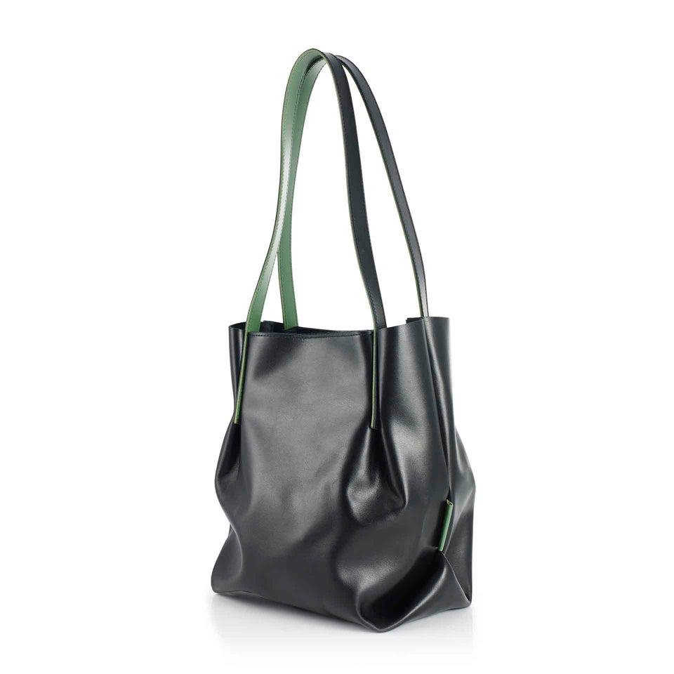 Leather Bucket in Black with Inner Green Straps