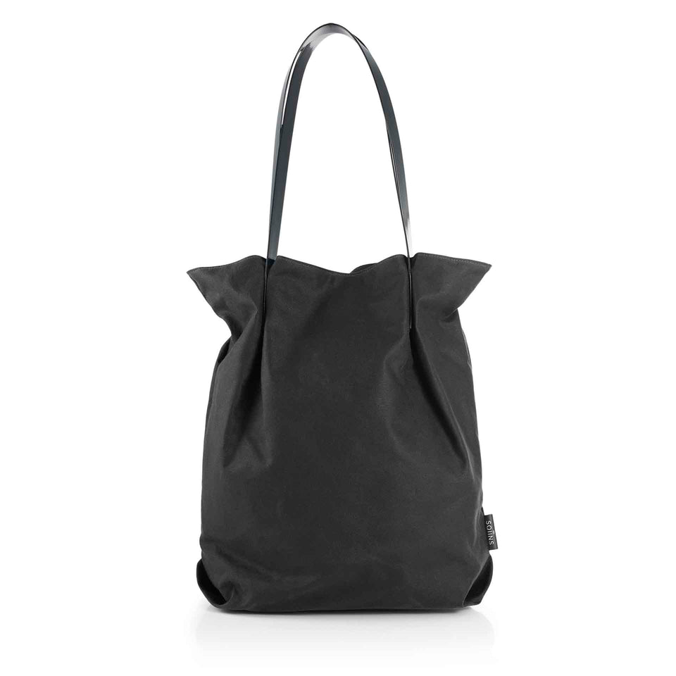Oversized Waxed Cotton Tulip Tote with Black Glossy Straps