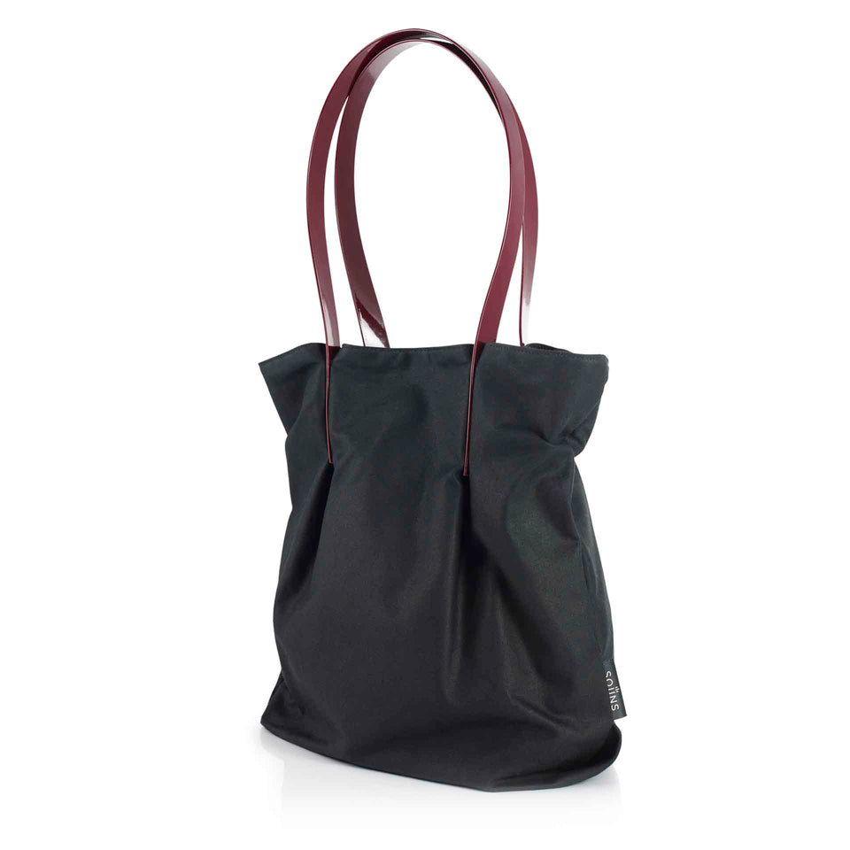 Medium Waxed Cotton Tulip Tote with Glossy Straps - More Colours