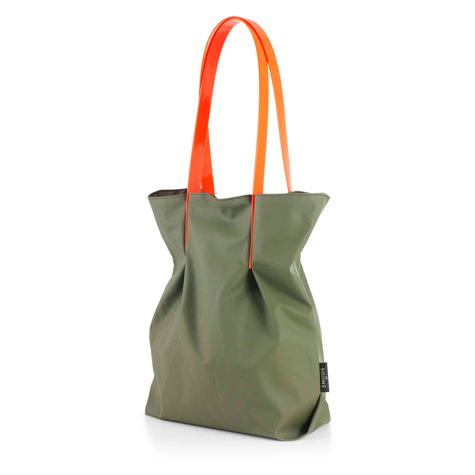 Moss Rubber Tulip Tote with Orange Glossy Straps