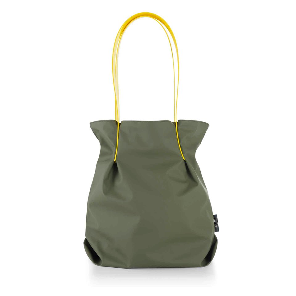 Moss Rubber Tulip Tote with Yellow Glossy Straps