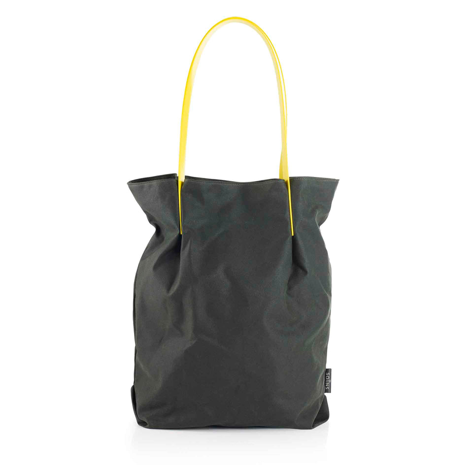 Oversized Waxed Cotton Tulip Tote with Yellow Glossy Straps