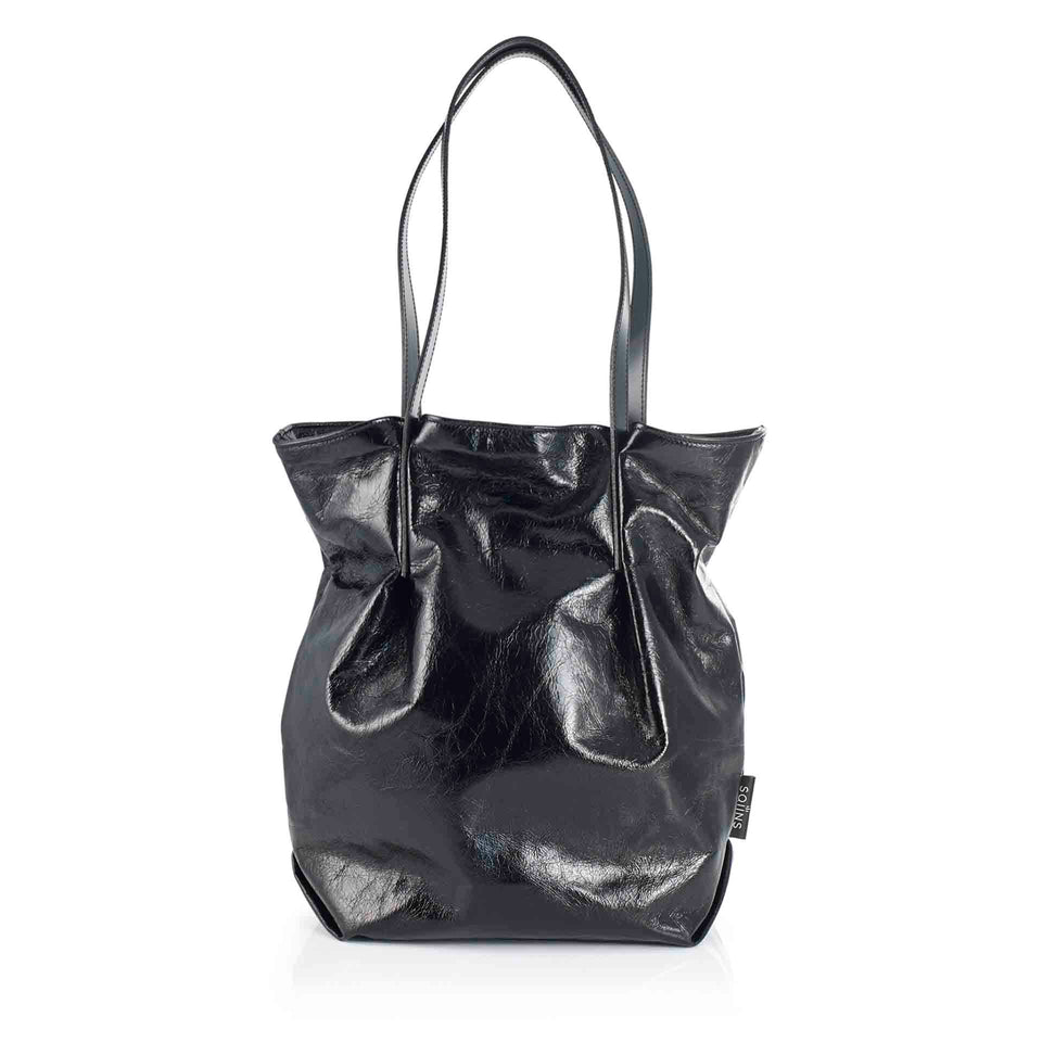 All Black Leather Tulip Tote