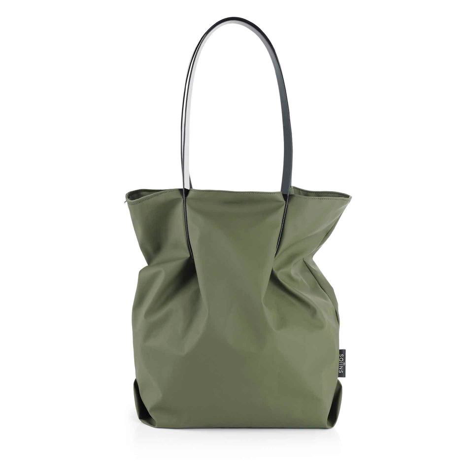 Moss Rubber Tulip Tote with Black Glossy Straps