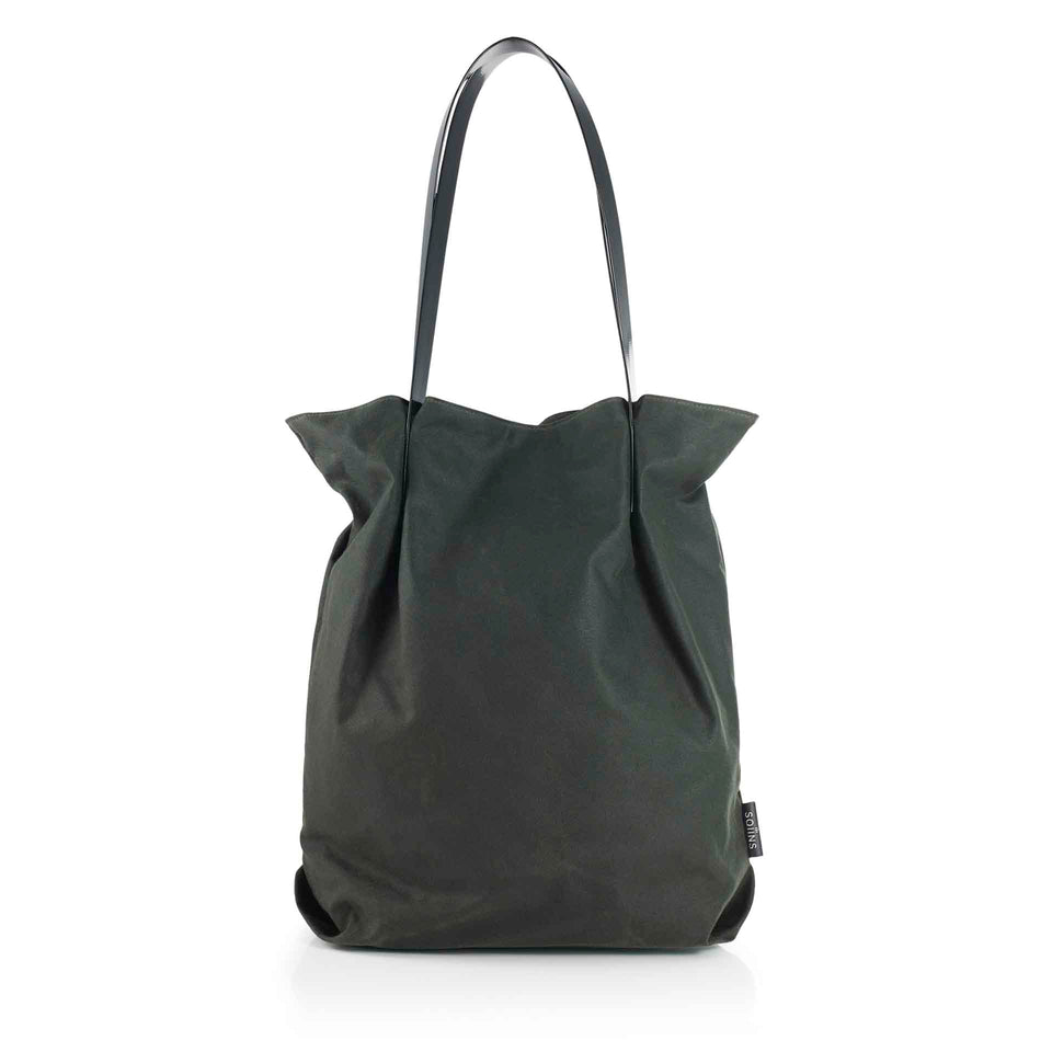 Oversized Waxed Cotton Tulip Tote in Sage with Black Glossy Straps