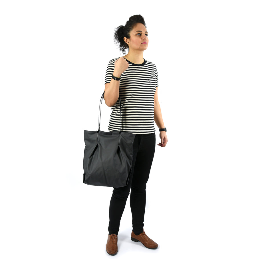 Black Rubber Tulip Tote with Grey Glossy Straps