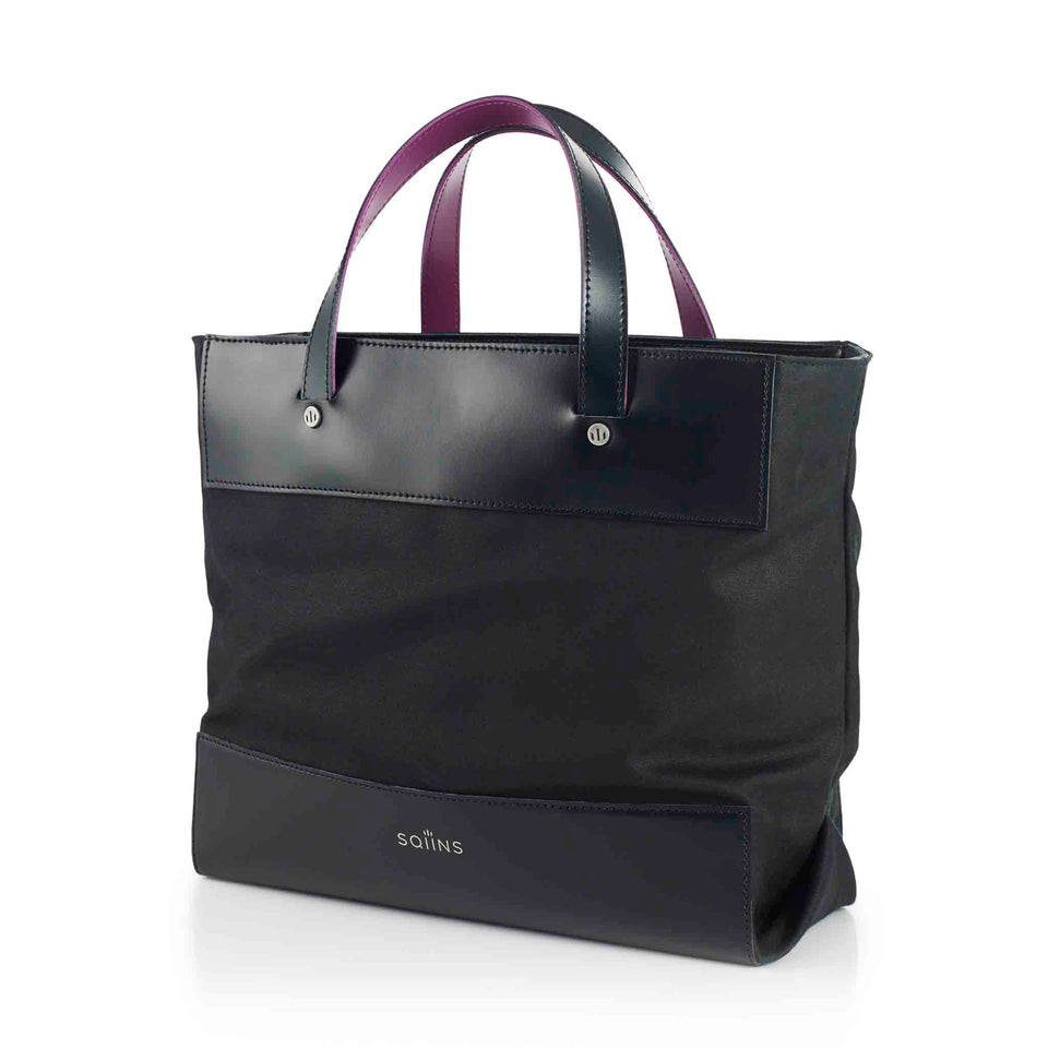 Black Leather and Waxed Cotton Cube Mini Tote