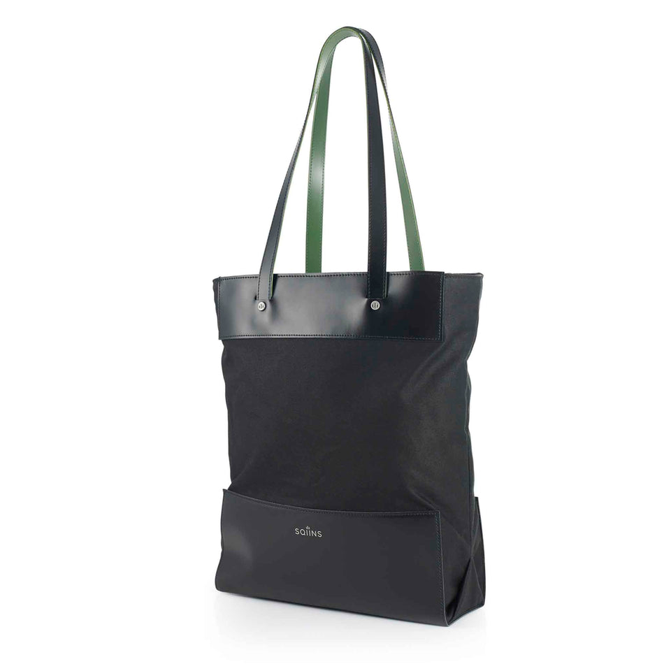 Black Leather and Waxed Cotton Cube Tote