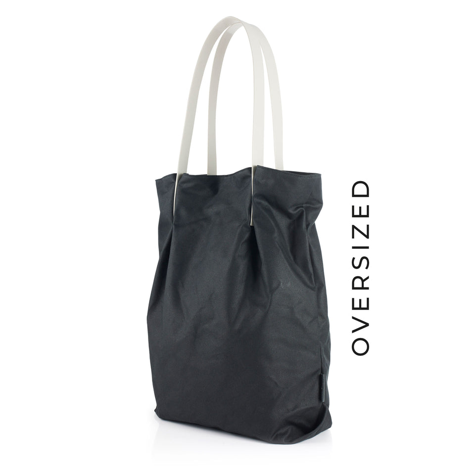 Oversized Waxed Cotton Tulip Tote with Grey Glossy Straps