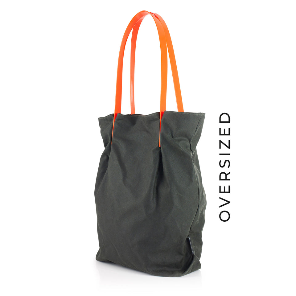 Oversized Waxed Cotton Tulip Tote with Orange Glossy Straps