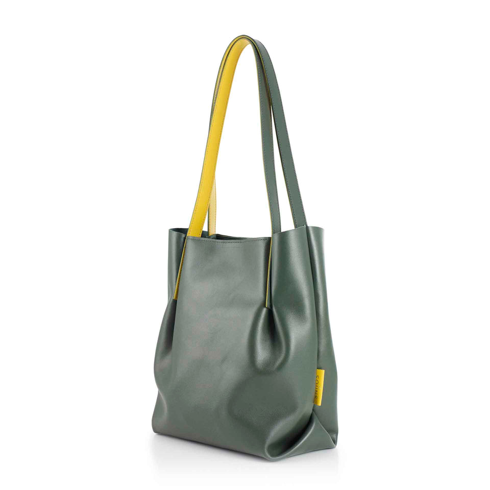 Leather Bucket in Olive with Inner Yellow Straps