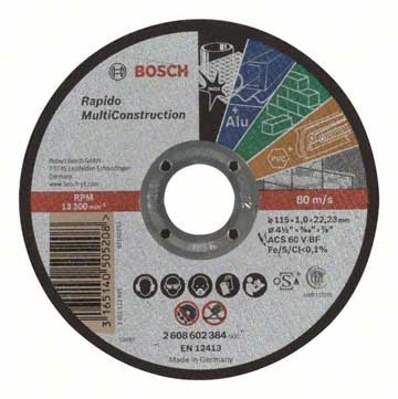 Bosch Professional Rapido Multi Construction 115mm Straight Cutting Discs-Kiloton Online Store