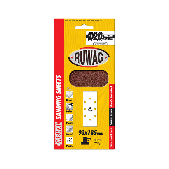 Ruwag Orbital Clamps Sanding Sheets - With Holes (Size: 93x230 & 115x280, Various Grit Sizes)-Kiloton Online Store