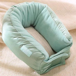 Turquoise Multi-functional Travel Pillow - This can be unfolded to become a shawl, blanket or scarf. Made with water repellent polyester and warm fleece.