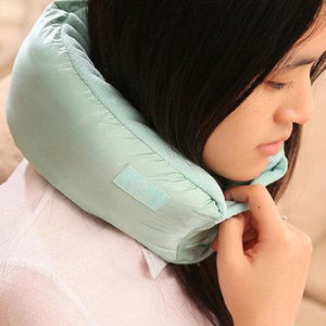 Turquoise Multi-functional Travel Pillow - Stylish design, a comfort to use. Velcro strap to secure around your neck.