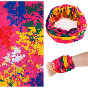Pink with Splashes Tube Scarf: Light, compact. Can be used as a bandanna, scarf, beanie or headband.