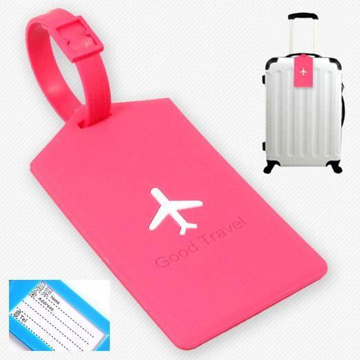 Pink Airplane Luggage Tag - Made of silicone with address label on the other side.