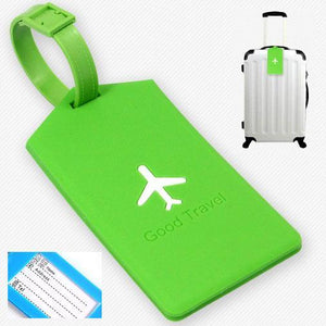 Green Airplane Luggage Tag - Made of silicone with address label on the other side.