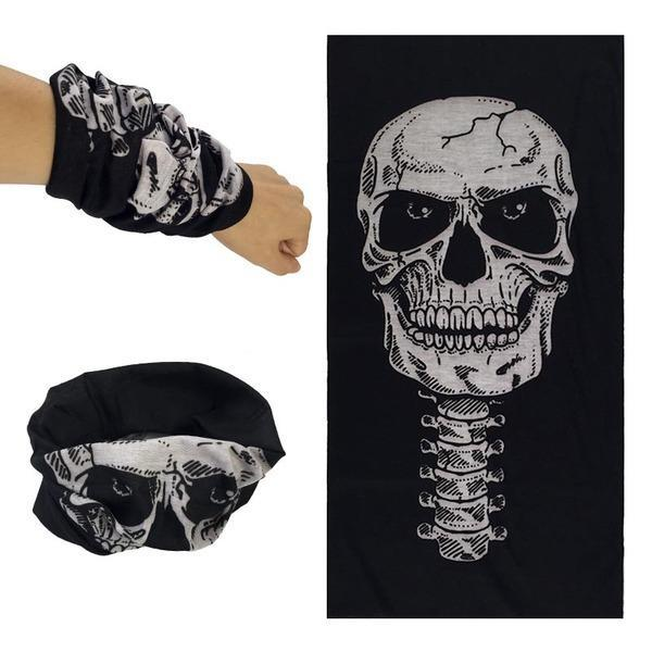Skull Face Tube Scarf: Light, compact. Can be used as a bandanna, scarf, beanie or headband.