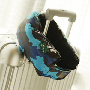 Blue Camo Multi-functional Travel Pillow - This can be unfolded to become a shawl, blanket or scarf. Soft and comfortable.