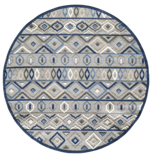 Outdoor Rug - Blue Aztec Round