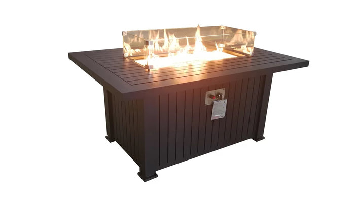 Glass Border Aluminum Propane Fire Pit Table