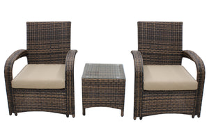 Mixed Brown Rattan with Heather Beige Cushions