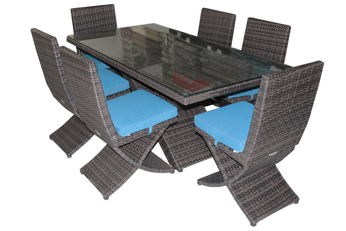 7-Piece X Rattan Dining Table