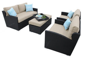 4-Piece Loveseat and Chair Set with Ottoman