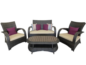 Outdoor Luxury Rattan Conversation Set w/ Sunbrella Cushions