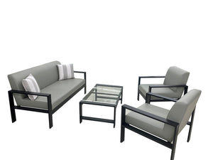 4 Piece Aluminum Set with Outdoor  Leather Cushions