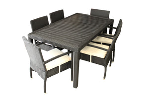 7 Piece Poly-Wood Top & Rattan Dining Table