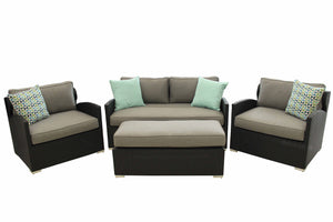 4 Piece Loveseat and Chair Set w/ Bench Style Ottoman