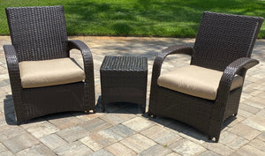 Outdoor Luxury Rattan Chair Set with Sunbrella Cushions