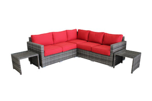 L-Shape Modular Red Sunbrella 5-Piece Patio Set